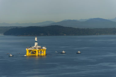 off shore oil rig and tug boats